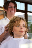 Young woman gets a hairdo in the beauty-shop Stock Photos