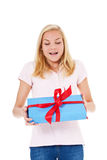 Young woman getting birthday present Royalty Free Stock Image