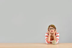 Young woman getting bored isolated Royalty Free Stock Photo