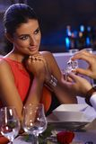 Young woman getting engagement ring Stock Images