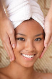 Young woman getting a massage Stock Photo