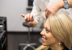 Young woman getting new haircut Royalty Free Stock Image