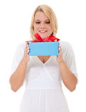 Young woman getting present Royalty Free Stock Images