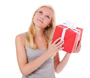 Young woman getting present Stock Image