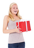 Young woman getting present Stock Photos