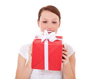 Young woman getting present Stock Photography