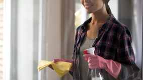 Young woman getting ready for general cleaning, holding spray and yellow rug stock photos