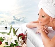 A young woman is getting spa treatment Stock Photography