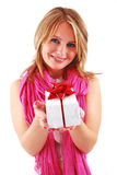 Young woman with a gift Stock Images