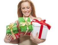 Young woman with gift Royalty Free Stock Photo