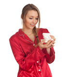 Young woman with gift box Stock Image