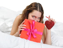 Young woman with a gift box Royalty Free Stock Photo