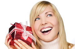 Young woman with gift box Royalty Free Stock Images