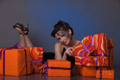 Young woman with gift boxes. Stock Photography