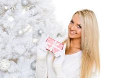 Young  woman with gift. Christmas. Stock Photography