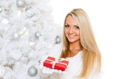Young  woman with gift. Christmas. Stock Image