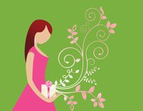 Young woman with gift and flourish. Diamond earring royalty free illustration