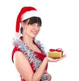 Young woman with gift in hand Stock Images