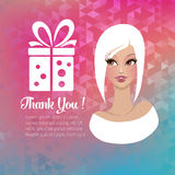 Young woman with a gift illustration Stock Images