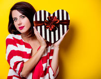 Young woman with gift Stock Photos