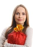 Young woman with gift sack Stock Images