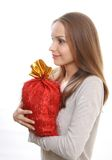 Young woman with gift sack Stock Photo