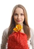 Young woman with gift sack Stock Photos
