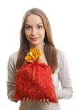 Young woman with gift sack Stock Photography