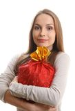 Young woman with gift sack Royalty Free Stock Photo