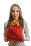Young woman with gift sack Stock Image