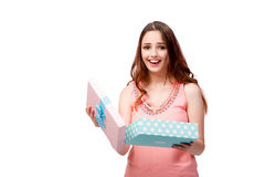 The young woman with giftbox isolated on white Royalty Free Stock Images