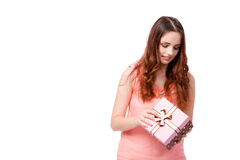 The young woman with giftbox isolated on white Stock Photos
