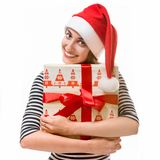 Young woman with gifts on Christmas Stock Image
