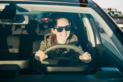 Young woman or girl driver inside the car. royalty free stock photo