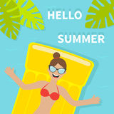 Young woman girl floating on yellow air pool water mattress. Red swimsuit, sunglasses Hello Summer. Palm tree leaf. Cute cartoon r Royalty Free Stock Photos