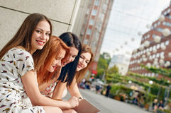 Young woman with girl friends Royalty Free Stock Photography