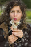 Young woman girl holding and blowing three dandelions with seeds in air Royalty Free Stock Photo