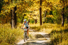 Young woman girl mountain Bike cyclist riding track at sunny day Stock Photography