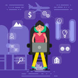 Young woman or girl sitting in seat on plane surfing inflight wi Royalty Free Stock Image