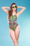 Young woman girl in swimsuit. Summer holiday. stock images