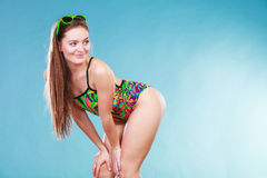 Young woman girl in swimsuit. Summer holiday. Stock Photos