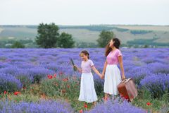 Young woman and girl are walking through the lavender flower field, beautiful summer landscape stock photos