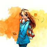 Young woman or girl watercolor painting in autumn season Stock Photography