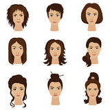 Young woman girls with various different hair style set. Royalty Free Stock Photography