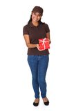 Young Woman Giving Gift Box Royalty Free Stock Image