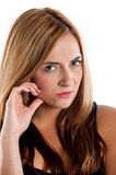Young woman giving a look of disapproval. Young woman giving a disapproving look Stock Images