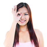 Young Woman Giving OK gesture On Face Stock Photos