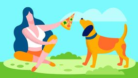 Young Woman Giving Pizza to Dog Flat Illustration stock illustration