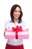 Young Woman Giving Present stock photo