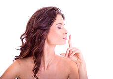 Young woman giving the quit sign Stock Image